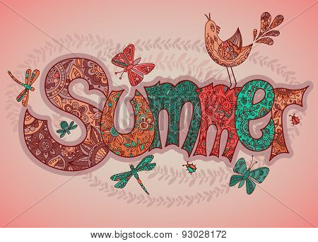Vector Summer Text With Flowers, Dragonflies, Beetles, Bird And Butterflies