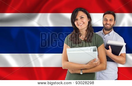 Couple Of Students Over Thai Flag