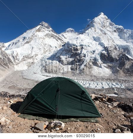 Mount Everest, Lhotse And Nuptse With Green Tent