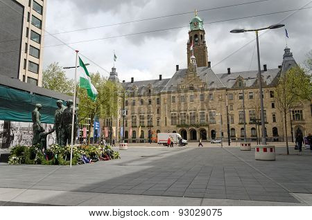 Rotterdam, Netherlands - May 9, 2015: People Visit Town Hall Of Rotterdam View From Stadhuisplein.