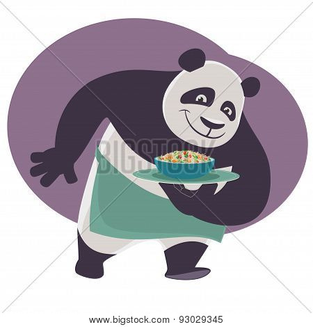 Panda bears a tray with Chinese food.