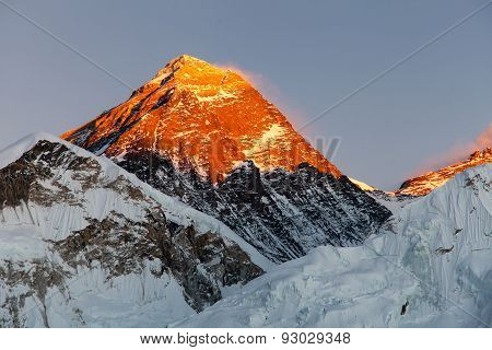 Evening View Of Top Of Mount Everest From Kala Patthat