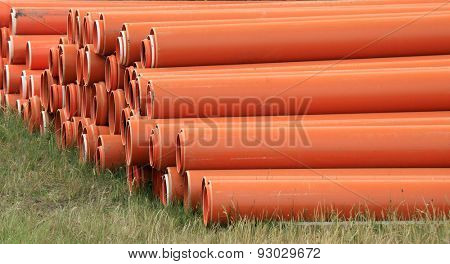arranged on heap plastic pipes