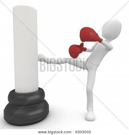 3D Man Boxing And Kicking