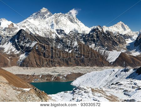 View Of Everest, Lhotse, Makalu And Gokyo Lake