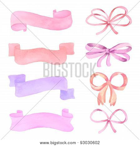Set of watercolor elements: ribbons, pennants, bows, vector illustration