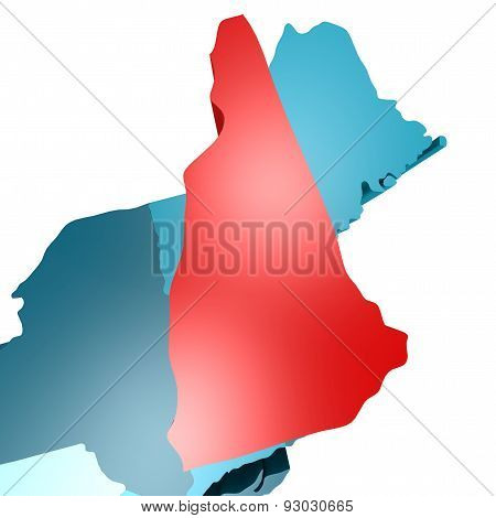 New Hampshire Map On Blue Usa Map