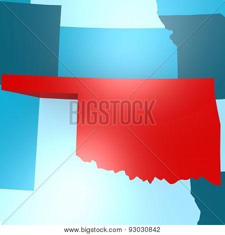 Oklahoma Map On Blue Usa Map