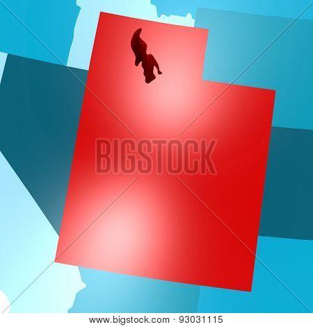 Utah Map On Blue Usa Map