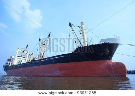 Commercial Container Ship Floating On River Port Use For Import ,export And Water Transport Topic