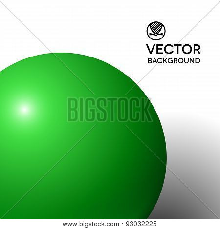 Abstract minimal frame with green ball