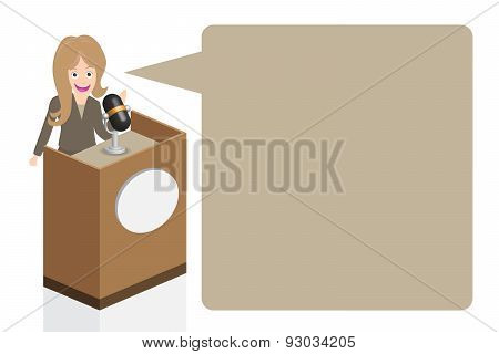 Business Woman Speaking On Stage With Microphone And Podium, Illustration, Vector