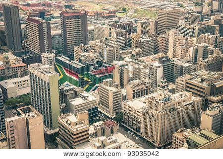 Close Up Detail Of Skyscrapers The Business District Of Johannesburg - Aerial View