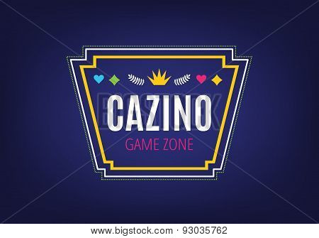 Abstract casino logo template for branding and design. Arrows, labels, ribbons, symbols. Stock vecto