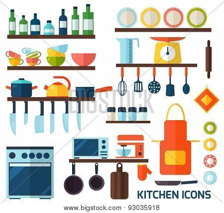 Flat kitchen and cooking icons.