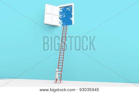 3d man with ladder to a door in sky