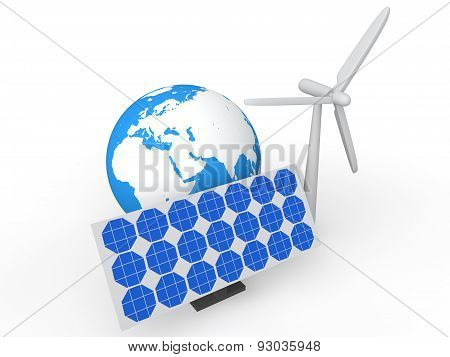 3d solar panel wind mill and earth