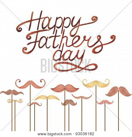 Watercolor card with mustache and text Happy Father's Day