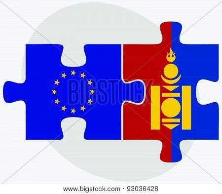 European Union And Mongolia Flags In Puzzle