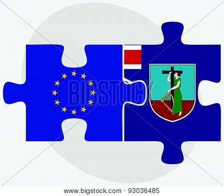 European Union And Montserrat Flags In Puzzle