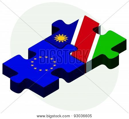 European Union And Namibia Flags In Puzzle