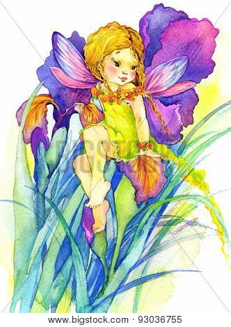 flower Fairy. watercolor drawing