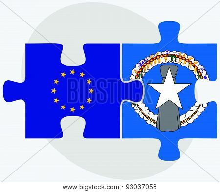 European Union And Northern Mariana Islands Flags