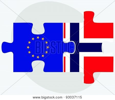 European Union And Norway Flags