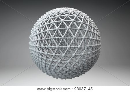 Sphere Made Of Smaller Spheres Connected By Strands. 3D Render Image.