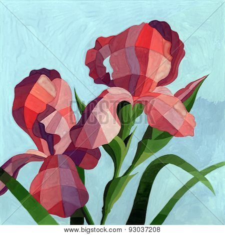 Vector Hand Drawn Watercolor Red Iris Flowers On Turquoise Background. Decorative Polygon Iris Backg