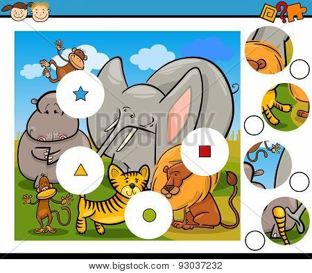 Education Game with Safari Animals