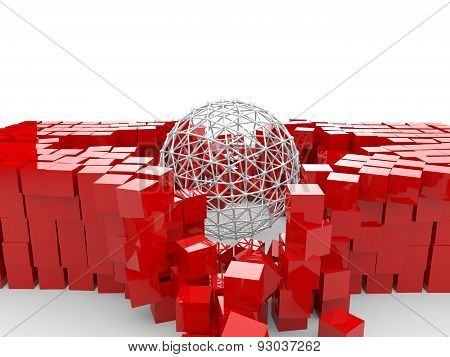 3d round structure and red cubes