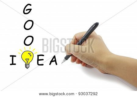 Hand With Pen Drawing Big Yellow Light Bulb With Good Idea Word On Pure White Background.