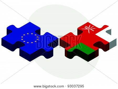 European Union And Oman Flags In Puzzle