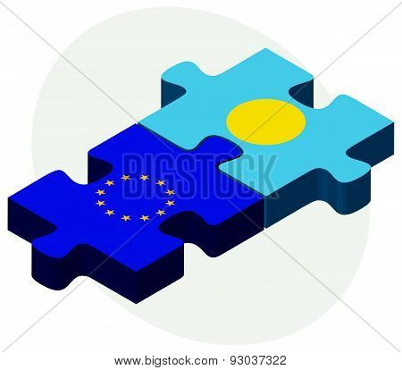 European Union And Palau Flags In Puzzle