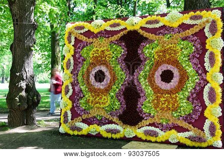 ST. PETERSBURG, RUSSIA - JUNE 4, 2015: Flower Carpet in the Mikhailovsky Garden during the festival Emperor's Gardens of Russia. The exposition Silk Road Gardens is in focus of festival this year