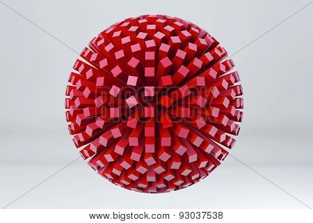 Sphere Of Cubes. 3D Render Image.