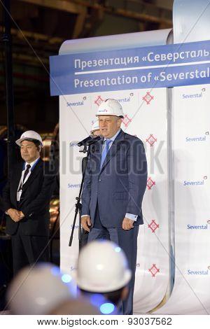 VSEVOLOZHSK, LENINGRAD OBLAST, RUSSIA - JUNE 5, 2015: Leningrad Region acting governor Alexander Drozdenko at the presentation of the joint enterprise Severstal-SSC-Vsevolozsk