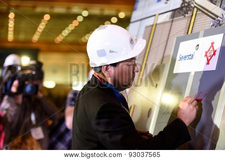 VSEVOLOZHSK, LENINGRAD OBLAST, RUSSIA - JUNE 5, 2015: Makoto Murase, executive director at Mitsui & Co. Steel, at the presentation of the joint enterprise Severstal-SSC-Vsevolozsk