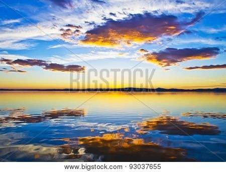 clouds reflected in lake water