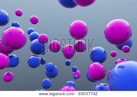 Floating Blue And Pink Balls. 3D Render Image.