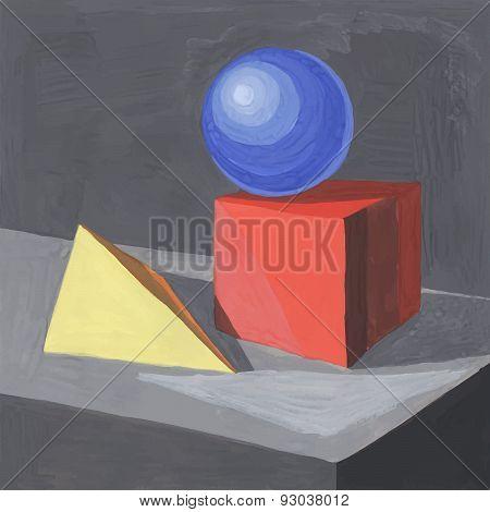 Vector Hand Drawn Gouache Geometric Shapes. Geometric Still Life Background. Eps 10.