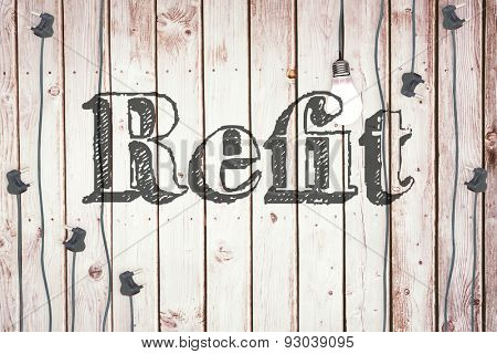 The word refit against light bulb on wooden background