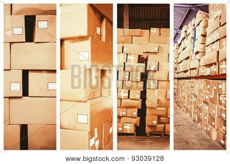 Cardboard boxes in warehouse against shelves with boxes in warehouse