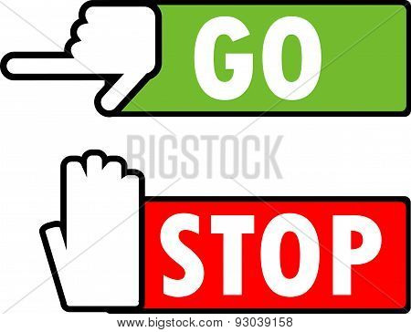 Go and stop navigation signs