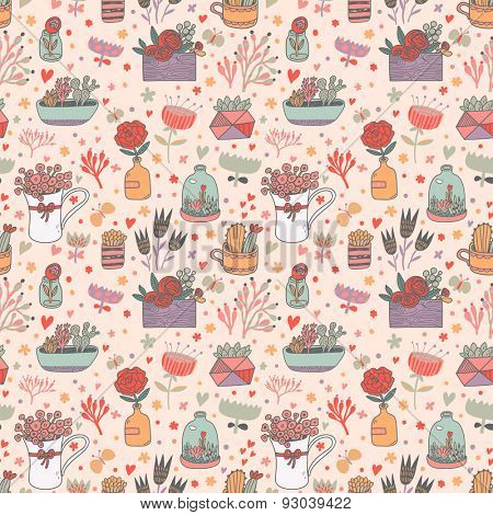 Awesome floral seamless pattern made of different house plants in pink colors. Lovely flowers in pots. Sweet natural background in vector