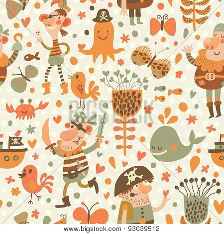 Lovely pirates in cartoon seamless pattern. Sweet background with pirates, flowers, ship, whale, crab and octopus. Awesome seamless pattern in vector