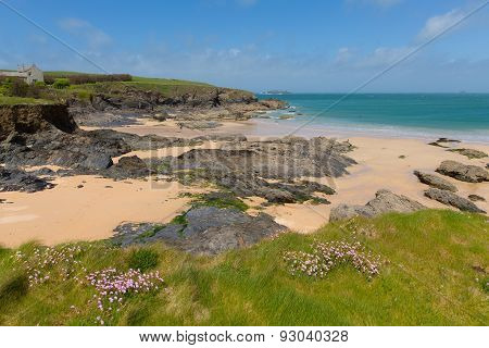 Rocky coast Harlyn Bay North Cornwall England UK near Padstow and Newquay