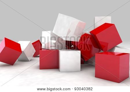 White And Red Cubes. 3D Render Image.