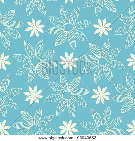 Seamless Cartoon Flower Background